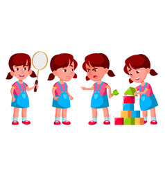 Girl kindergarten kid poses set vector