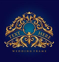 Gold frame luxury wedding ornate vector