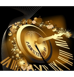 Gold Merry Christmas and happy New Year background vector image
