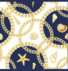 Golden chains and seashell seamless pattern vector