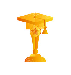 Golden graduate cap graduation award vector