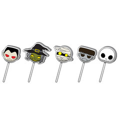 Halloween cute cartoon character lollipop candy vector