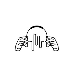 Hand hold headphones with music beats logo icon vector