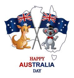 Happy australia day with kangaroo and koala vector
