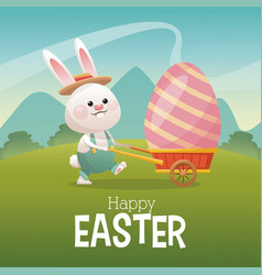 Happy easter card bunny carrying egg landscape vector