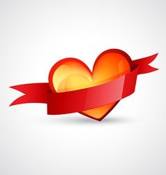 heart design with red ribbon vector image