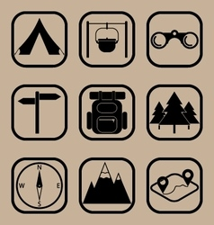 Hiking icons set vector