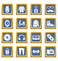 hipster symbols icons set blue square vector image