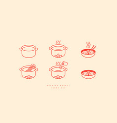 Icons set for soba noodle packaging vector