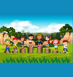 international children on the wooden stand vector image