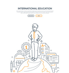 International education - line design style vector