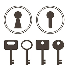 Keys and keyhole silhouettes set vector image
