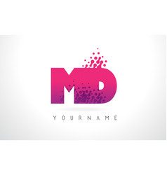 Md m d letter logo with pink purple color and vector