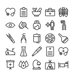 Medical health and hospital line icons 11 vector