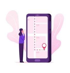Mobile navigation concept female character using vector