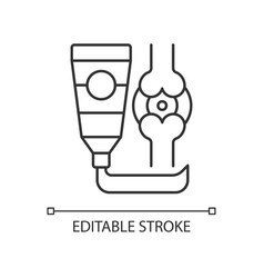 Ointment for arthritis linear icon vector
