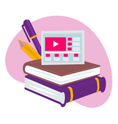 Online education and studies in distant format vector