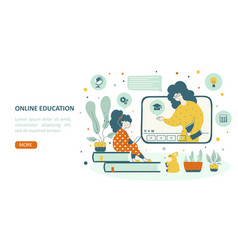 online school education children landing page vector image