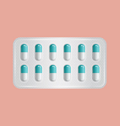 Package of pills group of blue pharmaceutical vector