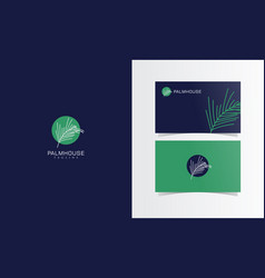 Palm leaf logo mark with business card template vector