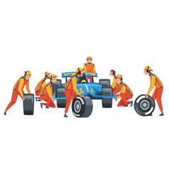 Pit stop crew members in uniform changing tire vector