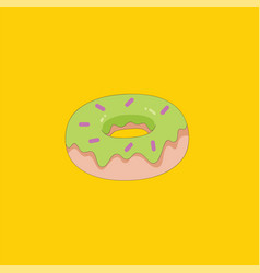portrait a fresh donut over yellow background vector image