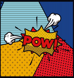 Pow word pop art style expression vector