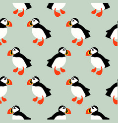 puffin seabird seamless pattern vector image