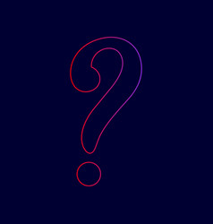 question mark sign line icon with vector image