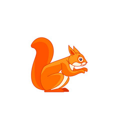 Red squirrel feeding tail up cartoon character vector