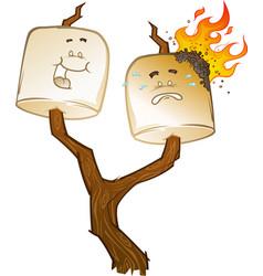 roasted marshmallow cartoons vector image