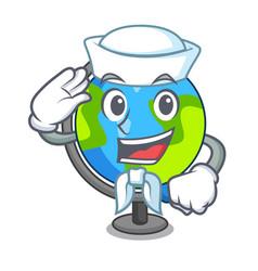 Sailor globe character cartoon style vector