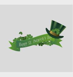 saint patrick day banner with leprechaun hat vector image
