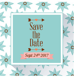 save the date poster with flowers background vector image