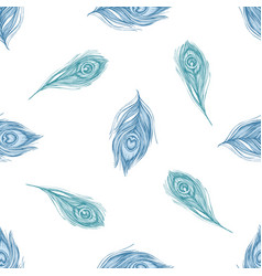 seamless pattern with hand drawn pastel peacock vector image