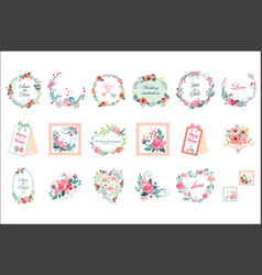 Set of beautiful floral frames borders and vector