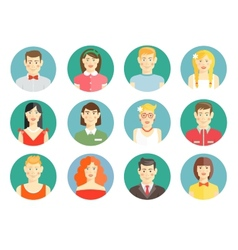 Set of diverse people avatar icons vector image