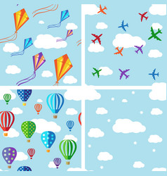 Set of seamless pattern on blue sky vector