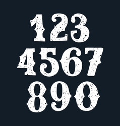 set of vintage numbers stamp vector image