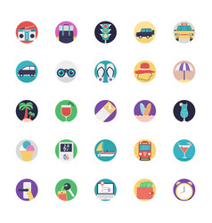 Set travel and tourism flat icons vector