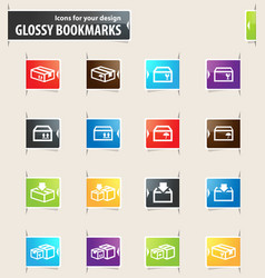 Simple icons set of box vector