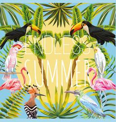 slogan endless summer flowers leaves bird vector image