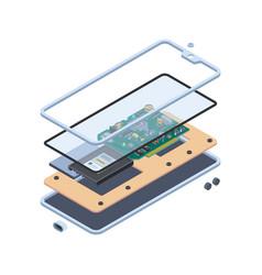 Smartphone hardware isometric layers inside vector