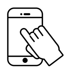 smartphone with cursor mouse line style icon vector image