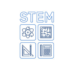stem word with icons science outline vector image