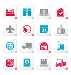 stylized logistic and shipping icons vector image