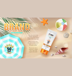sun protection sunscreen and sunblock ads design vector image