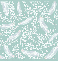sweet blue and white feathers seamless pattern vector image