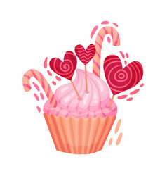 Sweet cupcake with candies as saint valentine day vector