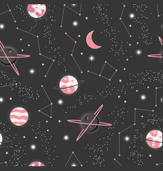 Universe with planets and stars seamless pattern vector
